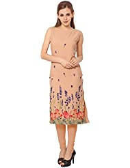 ZIYAA Peach Color Sleeveless AndBoat Neck Faux Crepe Kurti