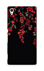 Amez designer printed 3d premium high quality back case cover forSony Xperia Z4 (floral black red )