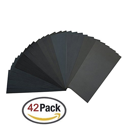 120 to 3000 Grit Sandpaper Assortment, Dry/ Wet, 9 x 3.6 Inch, 42 Pieces,Sand Paper for Automotive Sanding, Wood Furniture Finishing and Wood Turning Finishing (Detail Sanding Block compare prices)