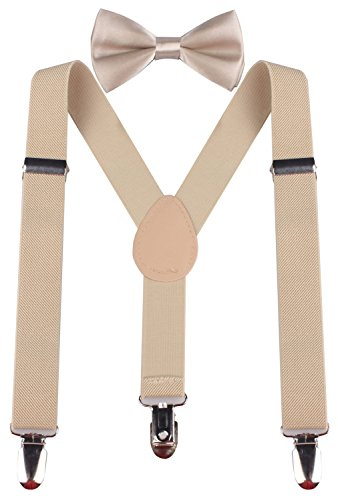 PZLE beige bowtie colored suspenders and bow tie 30 Inches (8yrs up - up to 5 feet tall) Beige (Bow Ties Khaki compare prices)