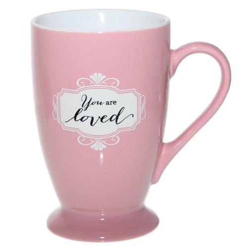 """Pink """"You Are Loved"""" Café Mug"""