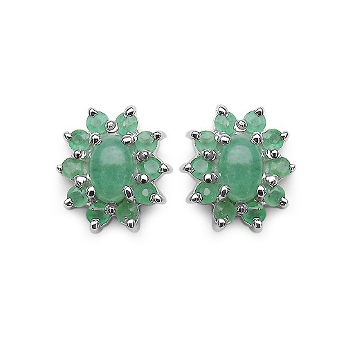 1.90 Carat Genuine Emerald Oval  &  Round Cluster Silver Earrings