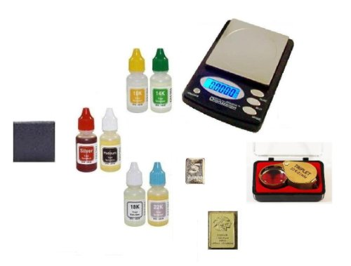 Guaranteed Testing Equipment-PuriTEST Acids with Digital Coin Scale, Loupe and Silver & Gold Bullion Bars (10 Grain Platinum Bar compare prices)