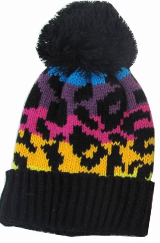 Leopard Print Kids Child Beanie Hat Winter Cap Rainbow Black