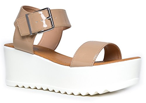 Women's Platform Slip On Sandal - Pull on Open Peep Toe Fashion Chunky Platform Wedge Ankle Strap Shoe, 10 B(M) US, Dark Beige Patent (Platform Shoes Soda compare prices)