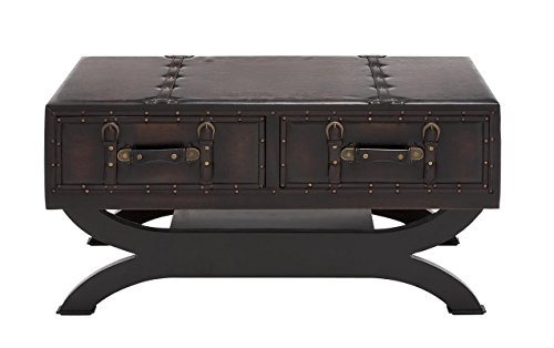 Deco 79 55743 Wood Leather Coffee Table, 40