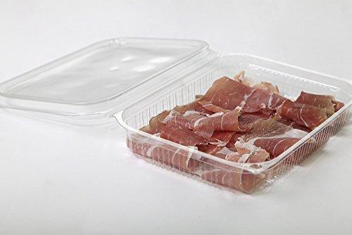 Vaschette rettangolari in OPS - cc 300 - Confezione da 100 contenitori trasparenti usa e getta con coperchio piatto unito - Vaschette monouso di plastica con chiusura incernierata ed ermetica