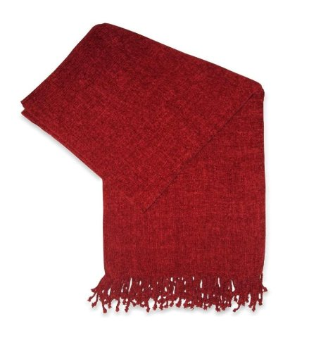 Jovi Home Grace Chenille Hand Woven Throw 50-Inch-By-60-Inch, Berry (Red)