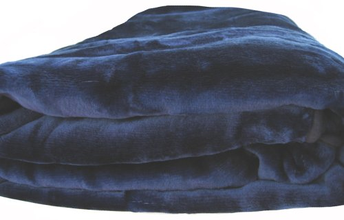 Brand New Queen Size Solid Super Soft Plush Mink Blanket Navy Blue