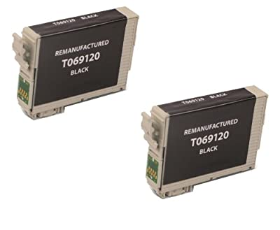 2 Pack Remanufactured Black Inkjet Cartridges for Epson T069 #69 T069120 Compatible With Epson Stylus C120, Stylus CX5000, Stylus CX6000, Stylus CX7000F, Stylus CX7400, Stylus CX7450, Stylus CX8400, Stylus CX9400 Fax, Stylus CX9475 Fax, Stylus N10, Stylus