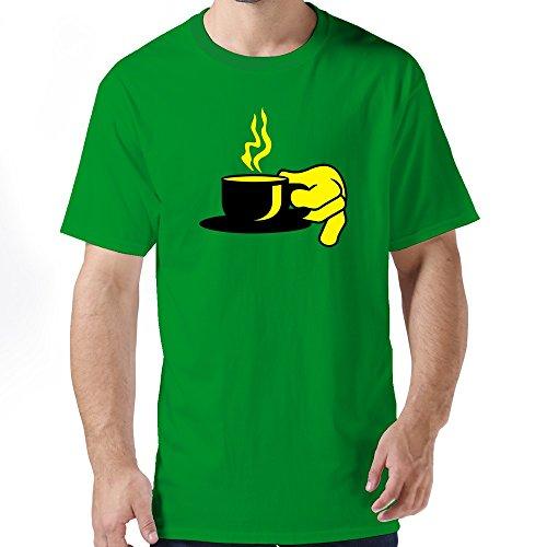 Huash Crew Neck Man Cup Coffee T Shirts Size L Kellygreen