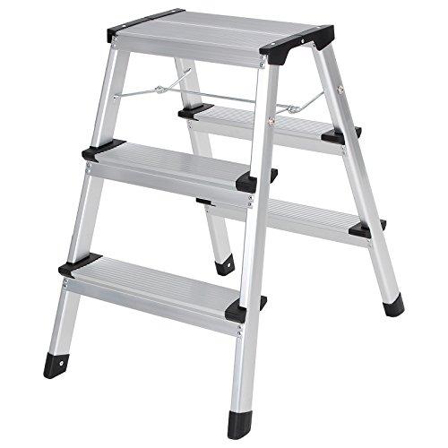 Songmics-Alu-Trittleiter-Klappleiter-Leiter-Haushaltsleiter-Beidseitig-2-x-3-Stufen-Belastbarkeit-150-kg-GLT23K