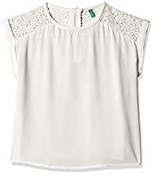 United Colors of Benetton Girls T-Shirt (15P5KU55Q1E0G074S_Off White_6 - 7 years)