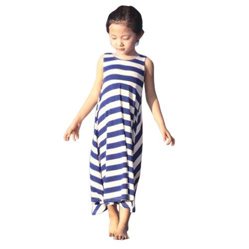 Cm-Cg Kids Girls Bohemian Beach Maxi Dresses 2-7Y (3-4Y, Blue-Stripe) front-368549