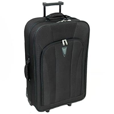 Super Lightweight Large 26'' Rolling Suitcase (Black)