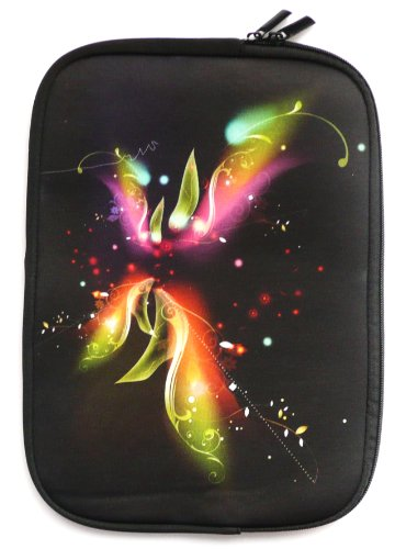 Emartbuy® Engel Axil TB0725IPS 7 Zoll Tablet Fantasy Blumen Wasserdicht Neopren weicher Reißverschluss Kasten Hülsen Abdeckungs ( 7 Zoll eReader / Tablet / Netbook )