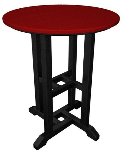 Polywood® Bistro Table, BLACK, SUNSET RED
