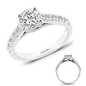 1.75 Ct. tw. White Gold Trellis Engagement Setting with Round Diamond