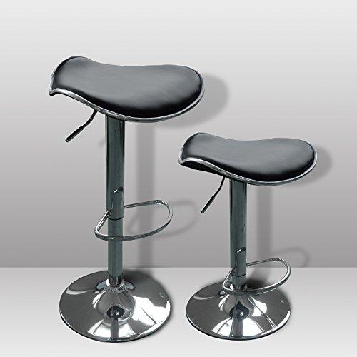 HomCom Pub Bar Stool Kitchen Chair Adjustable Leather Adjustable Hydraulic Bar Stool Leather Posh Set of 2 Air Lift 3435BK