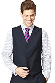 Sartorial Pure Wool 5 Button Striped Waistcoat