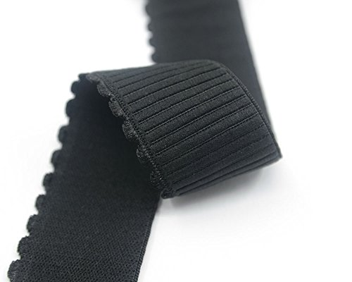 iCraft 1.5-inch Wide Plush Elastic By 2 Yard, Comfortable Sewing Elastic with Wavy Edge, Waistband Elastic (Black) (Wide Elastic For Sewing compare prices)