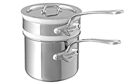 Mauviel M\'Cook 5204.12 0.9 Quart Bain Marie with Lid, Cast Stainless Steel Handle