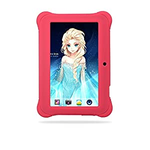"""Alldaymall 7"""" Quad Core Android Kids Tablet, with Wi-Fi and Dual Camera, 8GB, HD Kids Edition w/ iWawa Pre-Installed (A88X with Pink Kid-Proof Silicone Case)"""