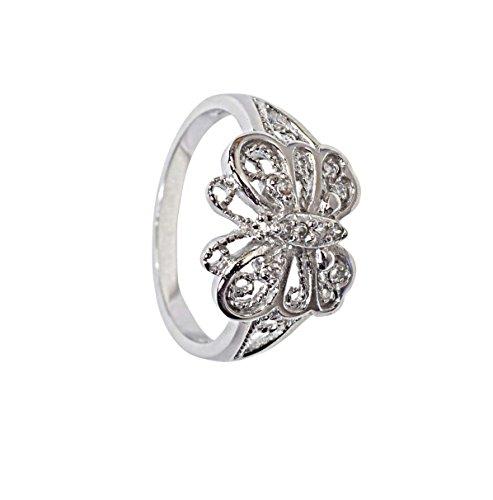 anillo de mariposa en plata de ley
