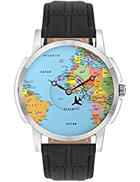 Travel Watch - BigOwl Airplane World Map Design Leather Strap Casual Wrist Watch For Men - Perfect Gift For Travellers...