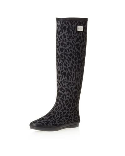 däv Women's Festival Leopard Rain Boot  - Grey