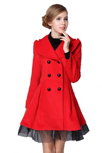 b4697243318 L.V.Y Women Trench Coat Jacket Parka Slim Fit Peacoat M Red