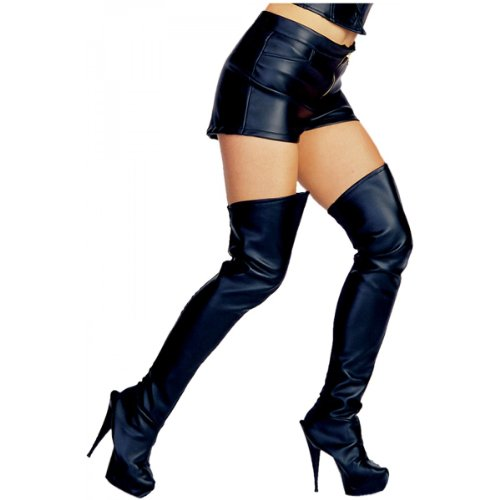 Leather Look Black Thigh High Boot Tops Costume Accessory
