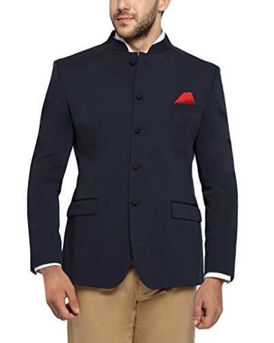 SUITLTD Navy Blue Solid Bandhgala Jacket