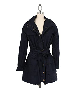 Nikki D Hooded Waist Tie Jacket in Dark Blue