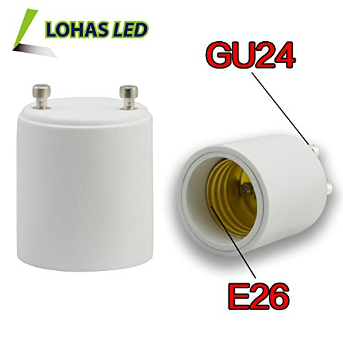 Lohas® 3-Pack Gu24 To E26 Adapter-Converts Pin Base Fixture(Gu24) Socket To Medium Screw(E26/E27) Socket-Adapter Converter-Suitable For Led Lights Bulbs,Halogen Cfl Lighting Lamp