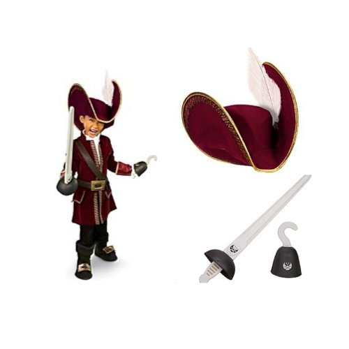 Disney Store Captain Hook Costume Set Size XS 4 with Pirate Hat, Sword and Hook