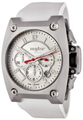 Men's Code R Automatic Chronograph Silver Dial White Rubber