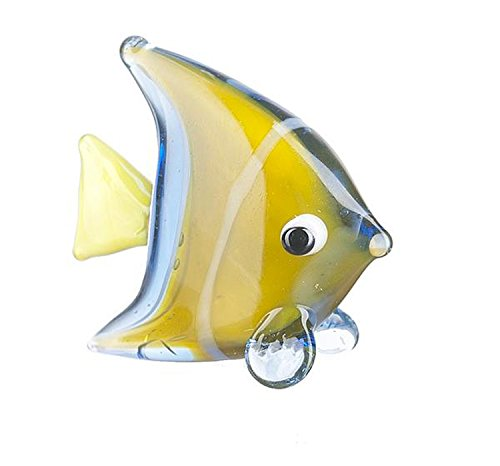 Miniature Blue & Yellow Glass Angel Fish by Ganz