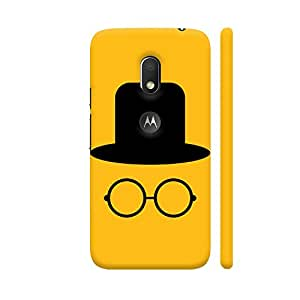 Colorpur Flat Cap And Glasses On Yellow Designer Mobile Phone Case Back Cover For Motorola Moto G4 Play with hole for logo | Artist: Designer Chennai