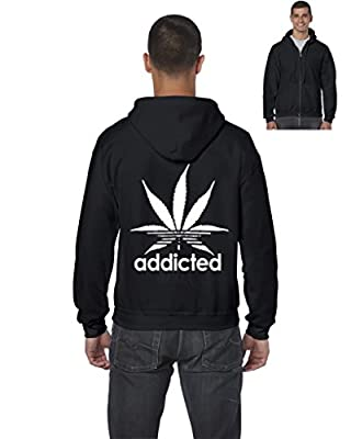 Artix A+ Addicted White Leaf Men`s Full-Zip Hoodie Weed Related Sweatshirts