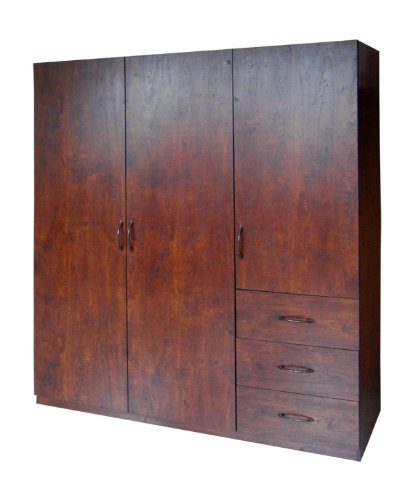 Purchase Home Source Industries 9129 Wardrobe with Space for Hanging-Drawer and Shelves, Walnut