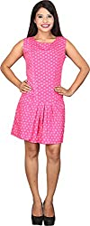 TUC Women's Plain Dress (TUC_01_Pink&whitedot_S, Pink, Small )