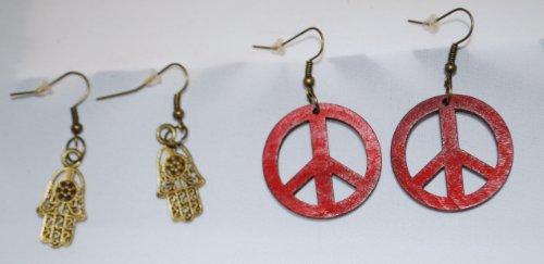 Womens Earrings, 2 Pair, Red Peace Sign & Gold Tone Hamsa