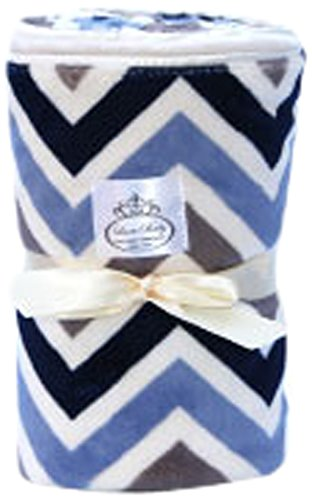 LUXE BABY Chevron Baby Blanket, Grey/Blue/Navy
