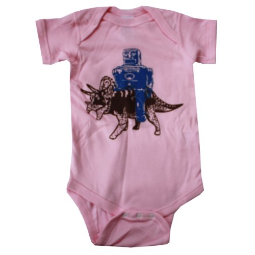 Happy Family Robot Rides Triceratops Dinosaur Baby Girl Light Pink Bodysuit (12 Months)
