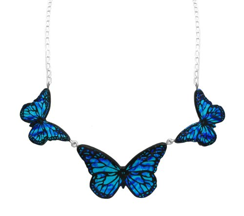Sterling Silver Dichroic Glass Blue 3 Butterflies Necklace, 18