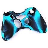 Foxnovo Housse étui case Skin protection durable souples en Silicone pour manette Xbox 360 (Noir + Bleu)