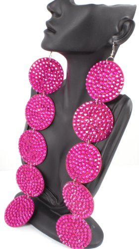 Fuchsia 12 Inch Circle Poparazzi Earrings Iced Out Light Weight Basketball Wives