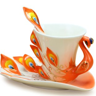 DUSIEC Collectable Fine Arts China Porcelain Tea Cup and Saucer Coffee Cup Peacock Theme Romantic Creative Present (Orange)
