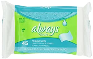 Always Always Wipes Refill Lightly Scented 45 Count (Pack of 4)